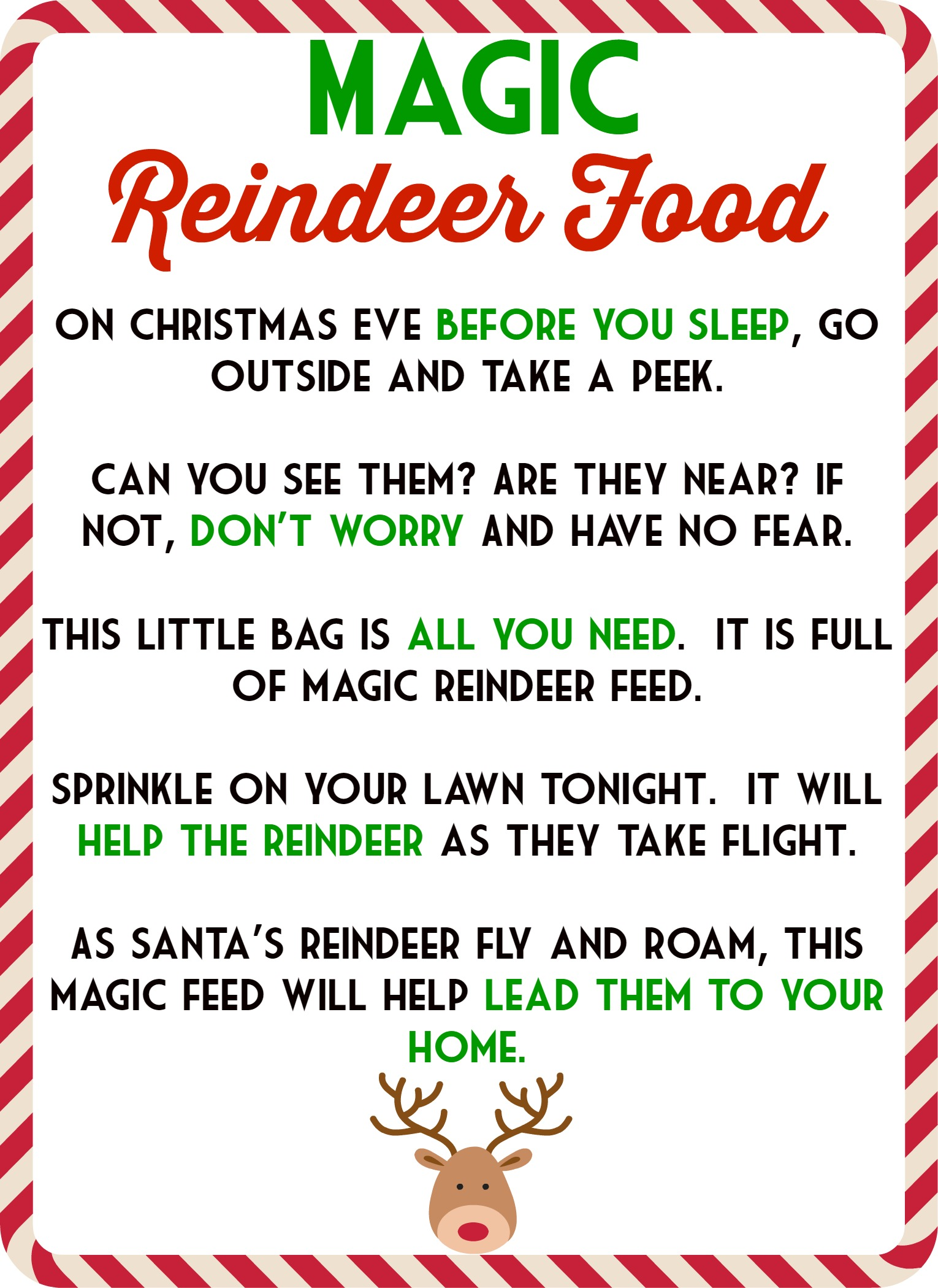 photo about Printable Reindeer Food Tags identified as Magic Reindeer Foods Poem Free of charge Obtain